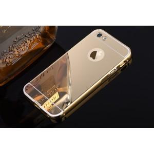 Двухкомпонентный чехол c металлическим бампером с поликарбонатной накладкой и зеркальным покрытием для Iphone 6/6s Бежевый