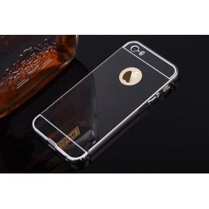 Двухкомпонентный чехол c металлическим бампером с поликарбонатной накладкой и зеркальным покрытием для Iphone 6/6s Черный