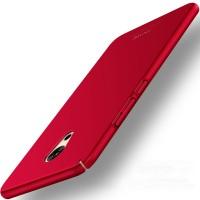 Пластиковый непрозрачный матовый чехол с допзащитой торцев для Meizu Pro 6 Plus Красный