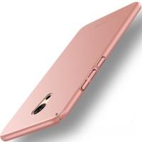 Пластиковый непрозрачный матовый чехол с допзащитой торцев для Meizu Pro 6 Plus Розовый