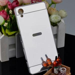 Двухкомпонентный чехол c металлическим бампером с поликарбонатной накладкой и зеркальным покрытием для Sony Xperia XA Серый