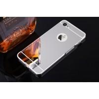 Двухкомпонентный чехол c металлическим бампером с поликарбонатной накладкой и зеркальным покрытием для Iphone 7/8 Серый