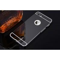 Двухкомпонентный чехол c металлическим бампером с поликарбонатной накладкой и зеркальным покрытием для Iphone 7/8 Черный
