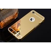 Двухкомпонентный чехол c металлическим бампером с поликарбонатной накладкой и зеркальным покрытием для Iphone 7 Бежевый