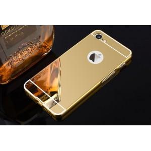 Двухкомпонентный чехол c металлическим бампером с поликарбонатной накладкой и зеркальным покрытием для Iphone 7/8 Бежевый