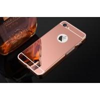 Двухкомпонентный чехол c металлическим бампером с поликарбонатной накладкой и зеркальным покрытием для Iphone 7 Розовый