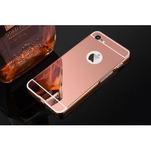 Двухкомпонентный чехол c металлическим бампером с поликарбонатной накладкой и зеркальным покрытием для Iphone 7/8 Розовый