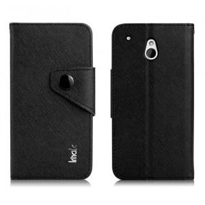 Чехол портмоне с кнопочной застежкой для HTC One Mini Черный