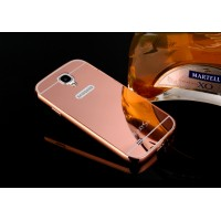Двухкомпонентный чехол c металлическим бампером с поликарбонатной двухцветной накладкой и зеркальным покрытием для Samsung Galaxy S4 Mini Розовый