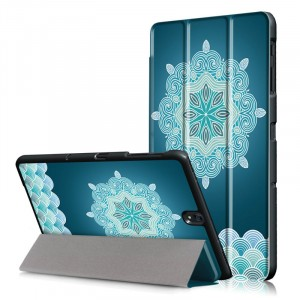 Сегментарный чехол книжка подставка на непрозрачной поликарбонатной основе с полноповерхностным принтом для Samsung Galaxy Tab S3