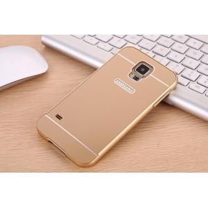 Двухкомпонентный чехол с металлическим бампером и поликарбонатной накладкой с отверстием под логотип для Samsung Galaxy S5 (Duos)