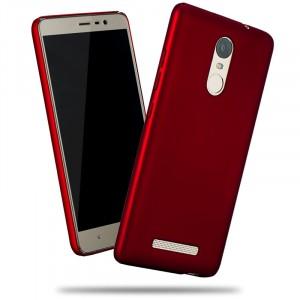 Пластиковый матовый металлик чехол для Xiaomi RedMi Note 3 Красный