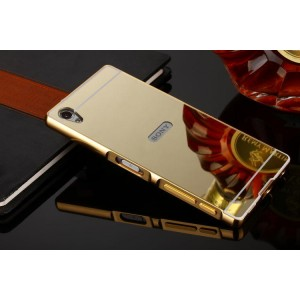 Двухкомпонентный чехол c металлическим бампером с поликарбонатной накладкой и зеркальным покрытием для Sony Xperia Z5