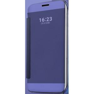 Пластиковый непрозрачный матовый металлик чехол с полупрозрачной крышкой с зеркальным покрытием для Samsung Galaxy J5 (2016) Синий