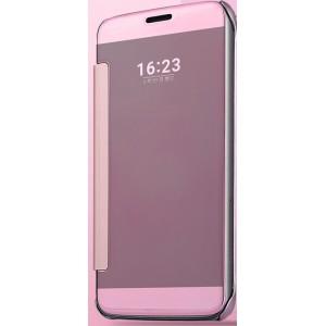 Пластиковый непрозрачный матовый металлик чехол с полупрозрачной крышкой с зеркальным покрытием для Samsung Galaxy J5 (2016) Розовый