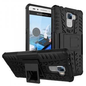 Силиконовый матовый непрозрачный чехол с нескользящими гранями, улучшенной защитой элементов корпуса (заглушки) и встроенной ножкой-подставкой для Huawei Honor 7 Черный