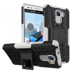 Силиконовый матовый непрозрачный чехол с нескользящими гранями, улучшенной защитой элементов корпуса (заглушки) и встроенной ножкой-подставкой для Huawei Honor 7 Белый
