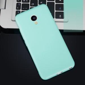 Силиконовый матовый непрозрачный чехол для Meizu M5 Голубой