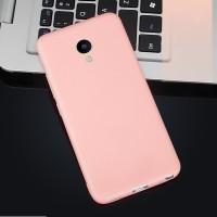 Силиконовый матовый непрозрачный чехол для Meizu M5 Розовый