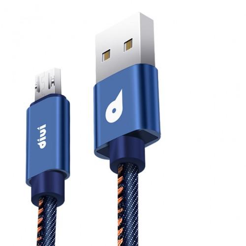 Зарядный кабель USB-MicroUSB 2.0 1.2м повышенной прочности с джинсовым покрытием