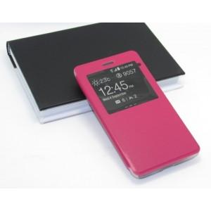 Чехол горизонтальная книжка подставка на пластиковой основе с окном вызова для Highscreen Power Five