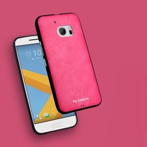 Силиконовый матовый непрозрачный дизайнерский фигурный чехол с текстурным покрытием Кожа для HTC 10 Пурпурный