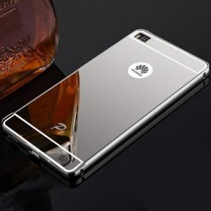 Двухкомпонентный чехол с металлическим бампером и поликарбонатной зеркальной накладкой для Huawei P8 Белый