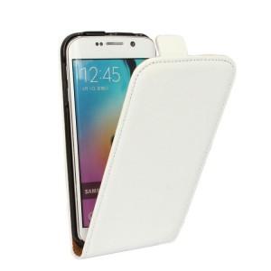 Чехол вертикальная книжка на пластиковой основе на магнитной защелке для Samsung Galaxy S6 Edge Белый