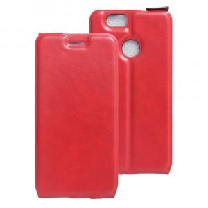 Чехол вертикальная книжка на силиконовой основе с отсеком для карт на магнитной защелке для Huawei Nova Красный