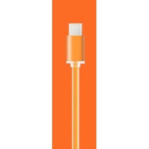 Сверхпрочный силиконовый антизапутывающийся кабель плоского сечения USB 3.1 type-C 1 м Оранжевый