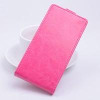 Чехол вертикальная книжка на клеевой основе на магнитной защелке для Highscreen Power Five EVO Розовый