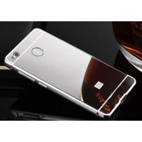 Двухкомпонентный чехол c металлическим бампером с поликарбонатной двухцветной накладкой и зеркальным покрытием для Xiaomi RedMi 4X Серый