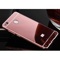 Двухкомпонентный чехол c металлическим бампером с поликарбонатной двухцветной накладкой и зеркальным покрытием для Xiaomi RedMi 4X Розовый