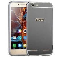 Двухкомпонентный чехол c металлическим бампером с поликарбонатной накладкой и зеркальным покрытием для Lenovo Vibe K5 Черный