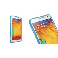 Металлический бампер для Samsung Galaxy Note 4 Голубой
