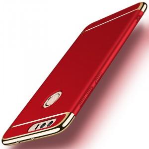 Пластиковый непрозрачный матовый сборный чехол с улучшенной защитой элементов корпуса для Huawei Honor 8 Красный