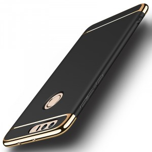 Пластиковый непрозрачный матовый сборный чехол с улучшенной защитой элементов корпуса для Huawei Honor 8 Черный