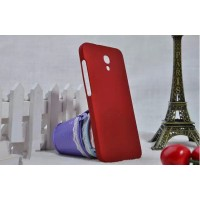 Пластиковый матовый металлик чехол для Alcatel One Touch Idol 2 S Красный