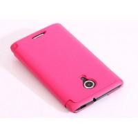 Тонкий чехол флип для Alcatel One Touch Idol 2 S Розовый