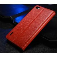 Кожаный чехол флип-подставка Чехол для Huawei Honor 6 Красный