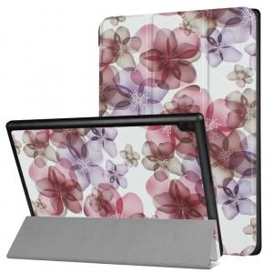 Сегментарный чехол книжка подставка на непрозрачной поликарбонатной основе с полноповерхностным принтом для Lenovo Tab 4 10 Plus