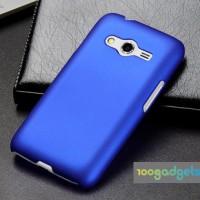 Пластиковый матовый чехол серия Metallic для Samsung Galaxy Ace 4 Синий