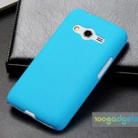 Пластиковый матовый чехол серия Metallic для Samsung Galaxy Ace 4 Голубой