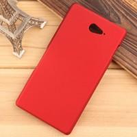 Пластиковый матовый непрозрачный чехол для Sony Xperia M2 Aqua Красный