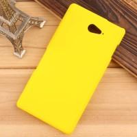 Пластиковый матовый непрозрачный чехол для Sony Xperia M2 Aqua Желтый