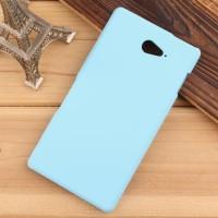 Пластиковый матовый непрозрачный чехол для Sony Xperia M2 Aqua Голубой