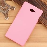 Пластиковый матовый непрозрачный чехол для Sony Xperia M2 Aqua Розовый
