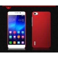 Пластиковый матовый непрозрачный чехол для Huawei Honor 6 Красный