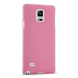 Пластиковый матовый непрозрачный чехол для Samsung Galaxy Note 4 Розовый