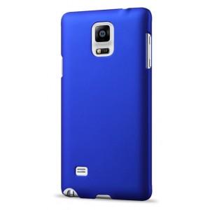 Пластиковый матовый непрозрачный чехол для Samsung Galaxy Note 4 Синий
